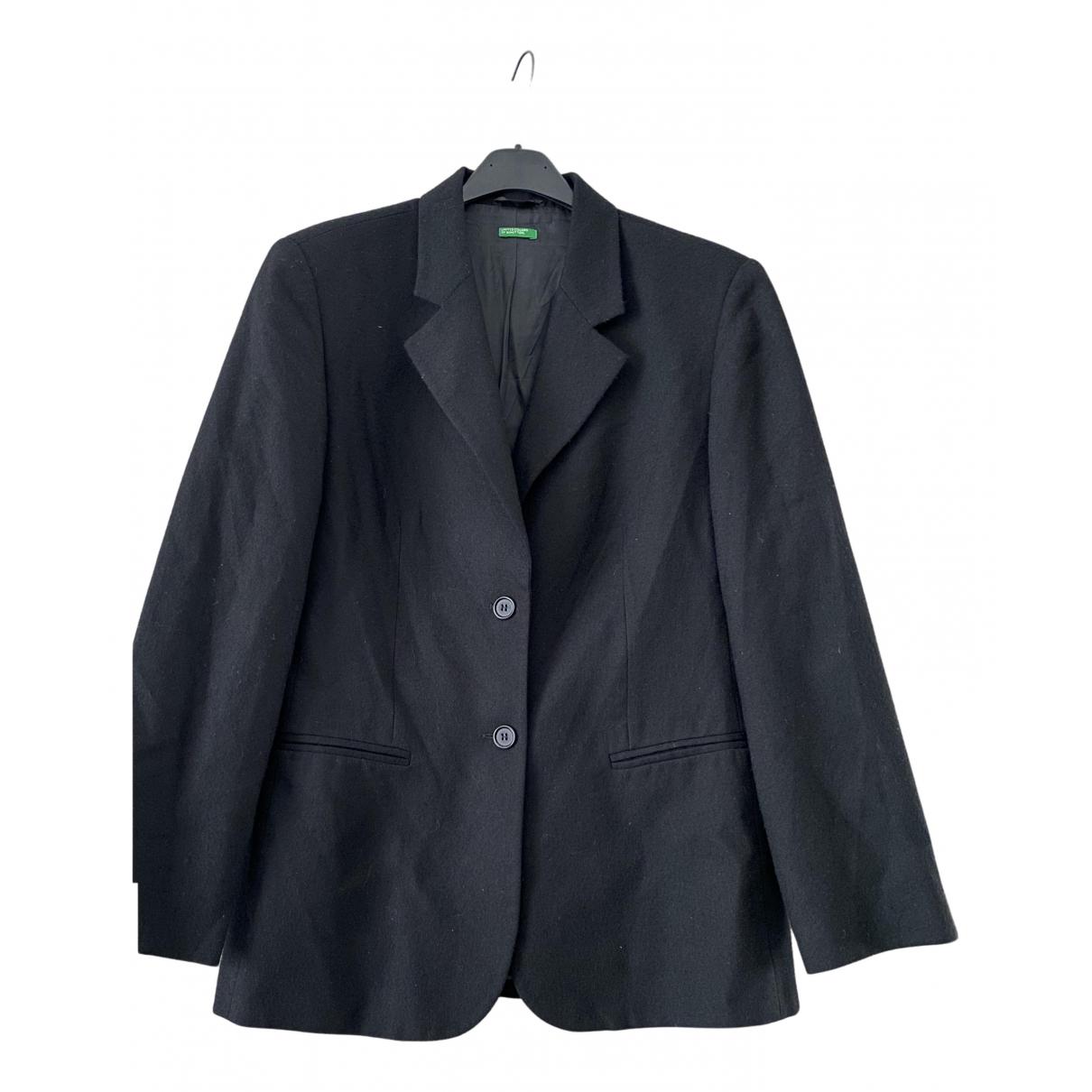 Benetton \N Jacke in  Schwarz Wolle