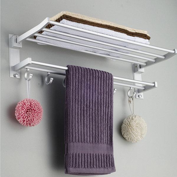 Aluminum Bathroom Towel Rack Polished Wall Mounted Towel Rail With 5Hooks Hanger