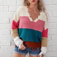 Pullover mit V-Kragen, ausgestelltem Saum und Farbblock