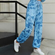 Double Crazy Tie Waist Tie Dye Sweatpants