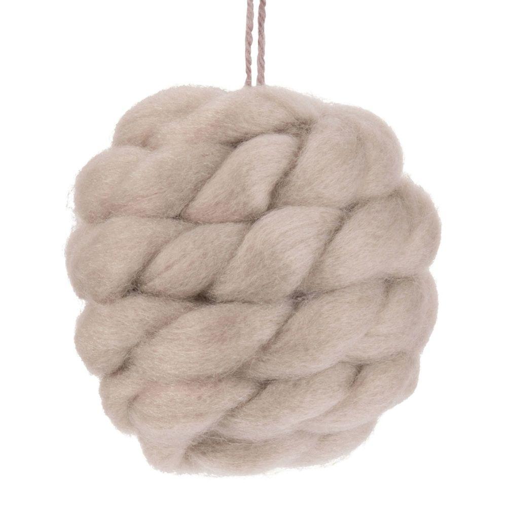 Weihnachtskugel aus geflochtener Wolle, taupe