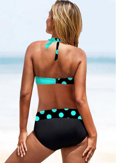 Polka Dot Swimsuits Contrast Polka Dot Halter Neck Bikini Set - M