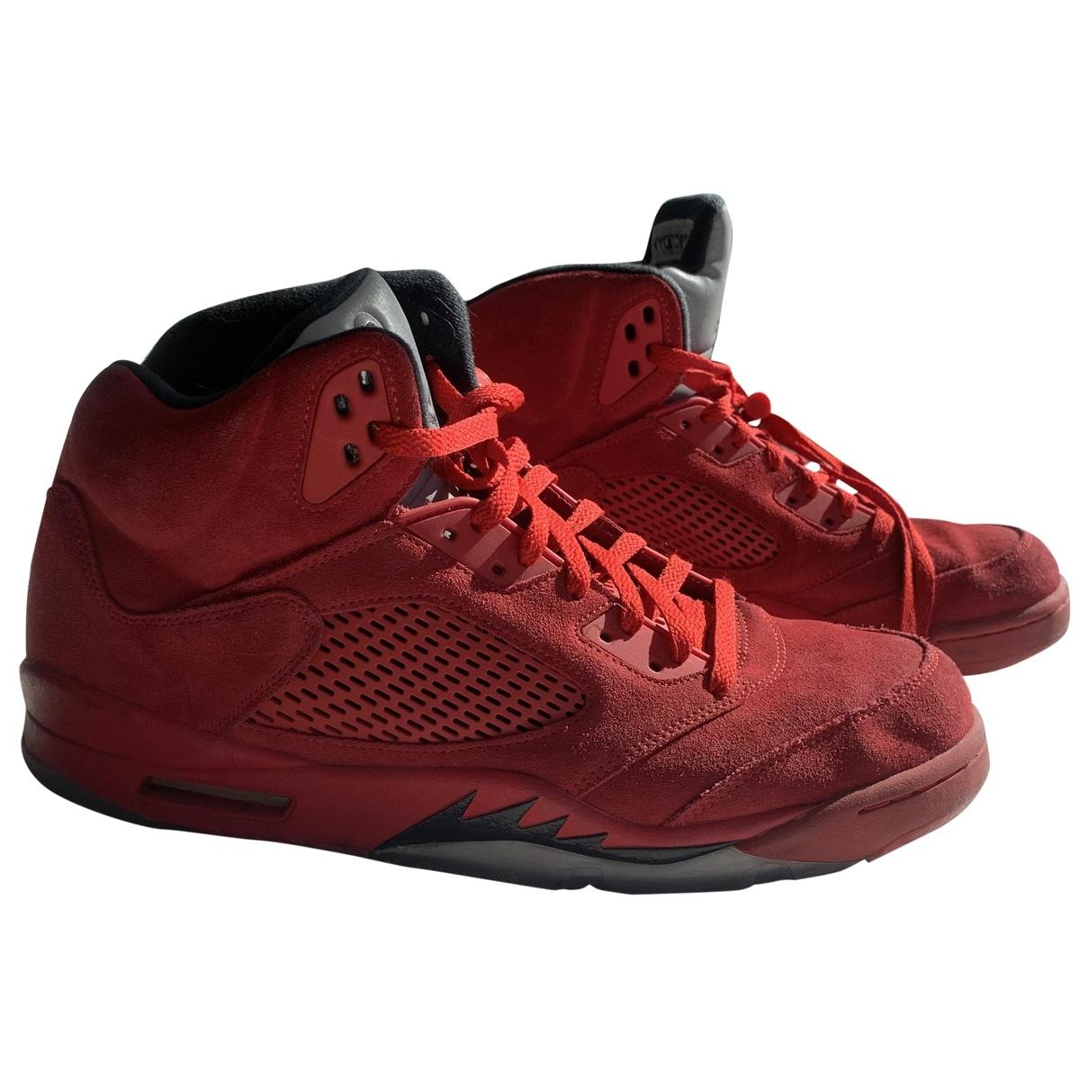Jordan - Baskets Air Jordan 5 pour homme en suede - rouge