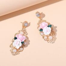 Faux Pearl Flower Drop Earrings