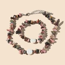 2 Stuecke Halskette mit bunten Perlen & Armband