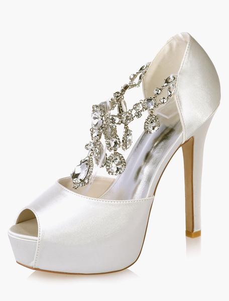 Milanoo Crystal Peep Toe Platform Wedding Evening Shoes Stiletto Heel Bridal Sandals