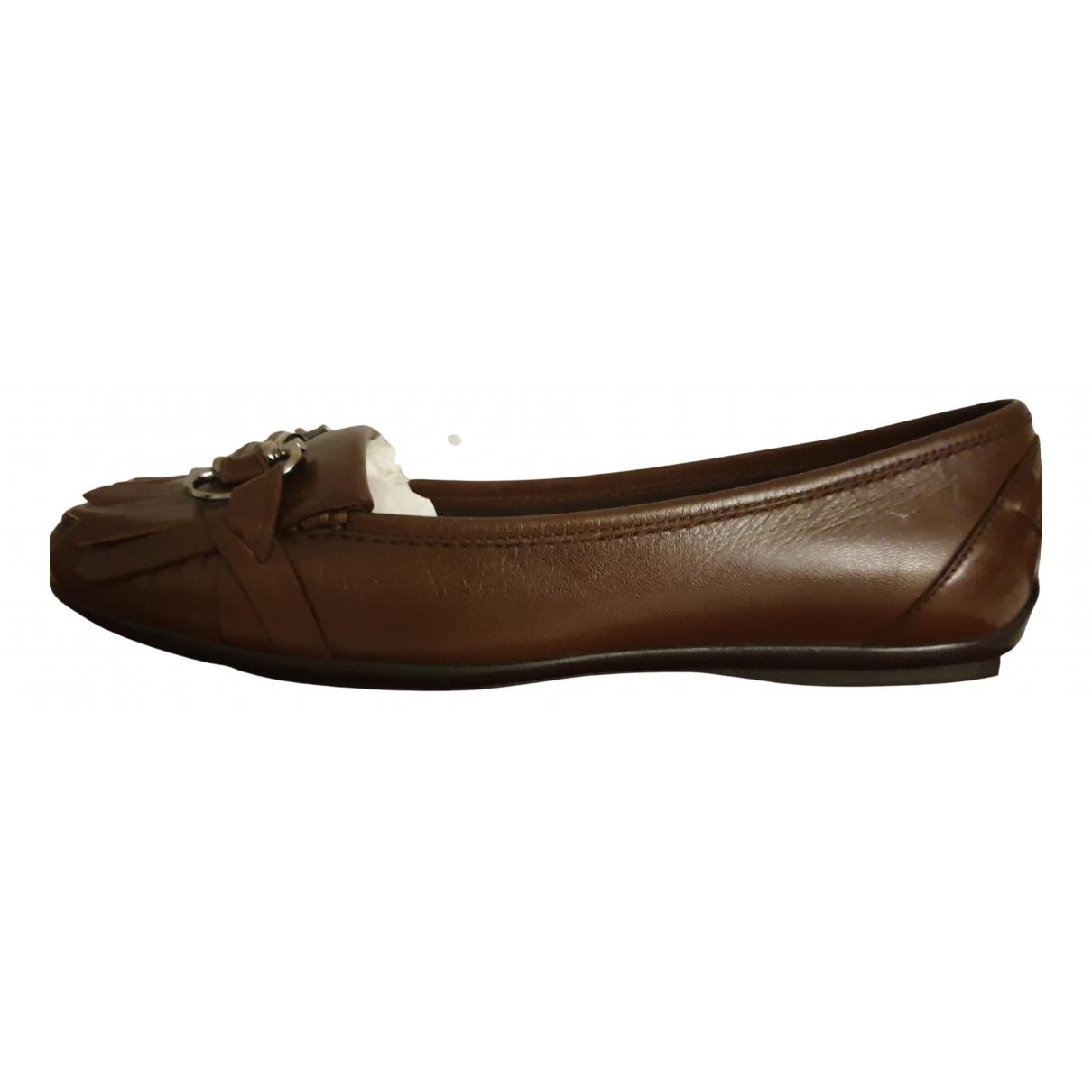 Salvatore Ferragamo N Brown Leather Flats for Women 10 US