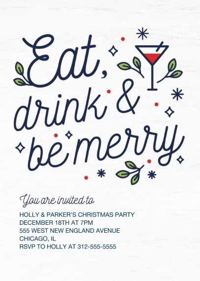 Christmas & Holiday Party Invitations 5x7 Cards, Premium Cardstock 120lb with Scalloped Corners, Card & Stationery -Merry Martini
