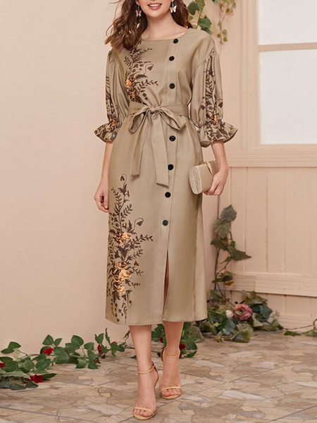 Milanoo Maxi vestidos de 3/4 longitud de las mangas Camel cuello de la joya de poliester bordado longitud del piso