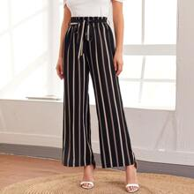 Vertical Striped Paperbag Waist Belted Pants