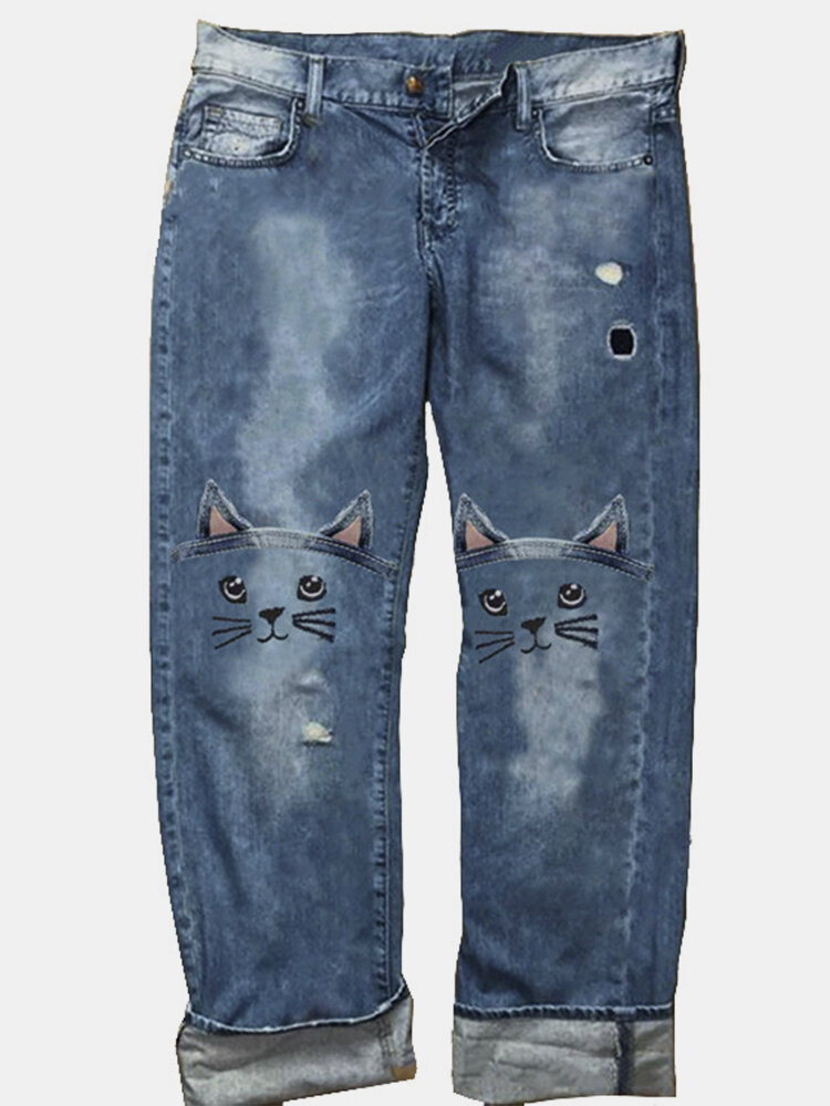 Cat Embroidery Casual Jeans Loose Denim Pants For Women