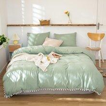 Pom Pom Decor Solid Bedding Set Without Filler