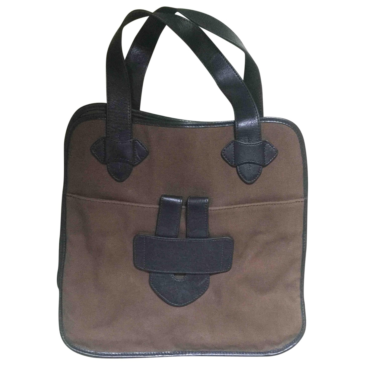 Bolso de mano en Algodon Marron Tila March