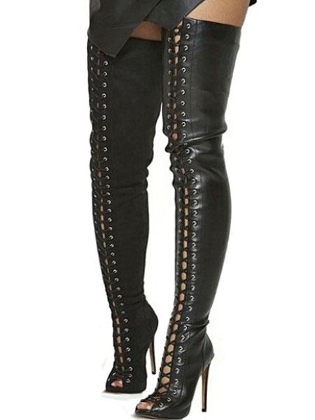 Milanoo Botas altas mujer negro  de PU de tacon de stiletto de punter Peep Toe 10.5cm Color liso Primavera Otoño con cinta para uso al aire libre