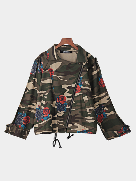 Yoins Camouflage Side Pockets Zip Design Classic Collar Long Sleeves Jackets