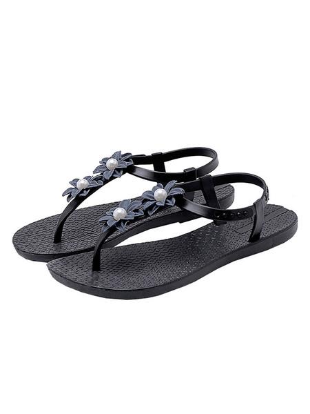 Milanoo Sandalias de tiras para mujer Zapatos planos para playa con flores