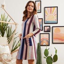 LUUKSE Kleid mit eingekerbtem Kragen, Taschen Flicken und Farbblock