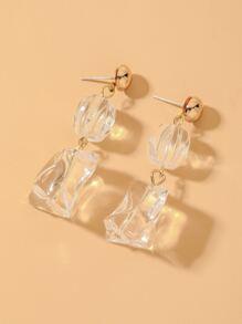 Clear Geometric Charm Drop Earrings