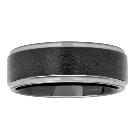 Mens Black IP Tungsten Scratch Finish Wedding Band, 9 , No Color Family