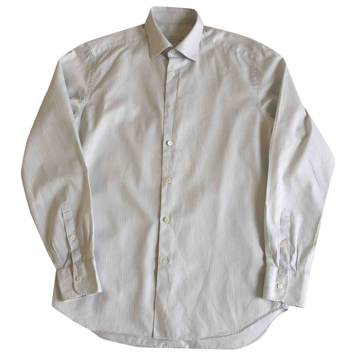 Prada \N White Cotton Shirts for Men 38 EU (tour de cou / collar)