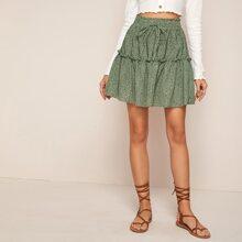 Speckled Print High-Rise Mini Skirt