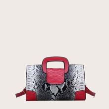 Snakeskin Colorblock Satchel Bag