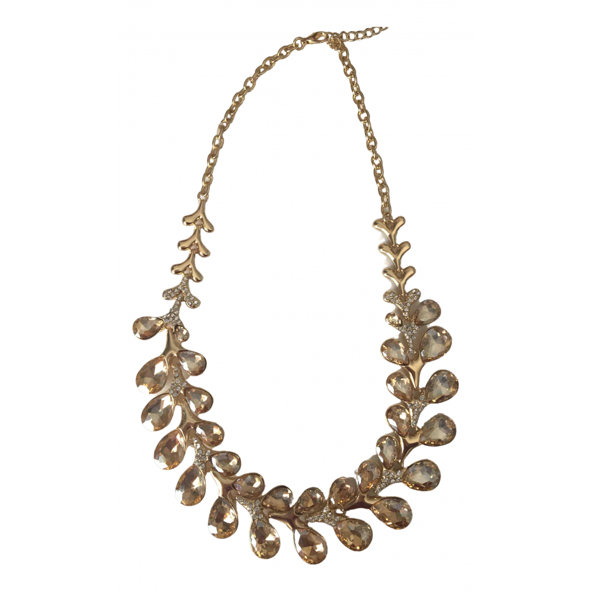 Non Signé / Unsigned Motifs Floraux Gold Crystal necklace for Women \N