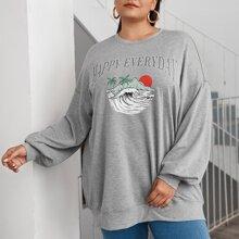 Pullover mit Buchstaben Grafik und sehr tief angesezter Schulterpartie