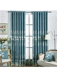 Luxury European Elegant Embossed Embroidery Chenille Blackout Grommet Curtains