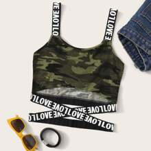 Love Graphic Camo Print Crop Top