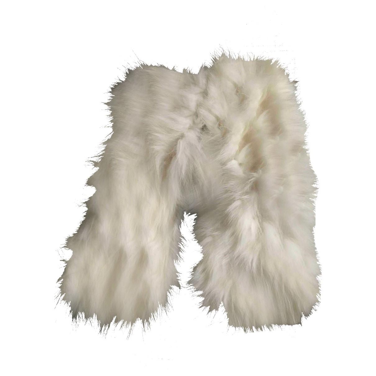 Yves Salomon \N White Fur Gloves for Women M International