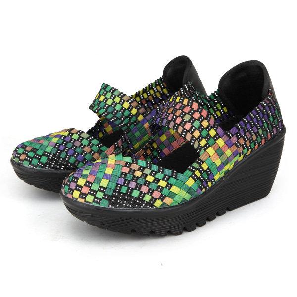 Color Match Elastic Belt Knitting Swing Slip On Platform Sport Sandals