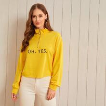 Letter Print O-Ring Half Zip Sweatshirt