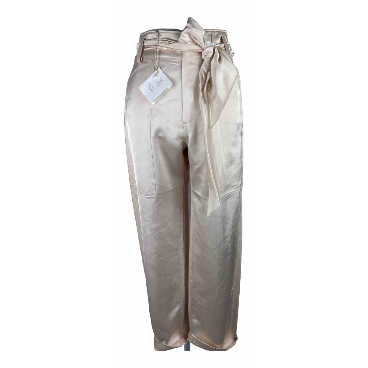 Brunello Cucinelli \N Beige Cotton Trousers for Women M International