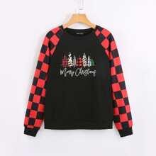 Sweatshirt mit Weihnachten Muster und Raglanaermeln