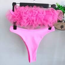 Bandeau Bikini Badeanzug mit Kontrast Netstoff und hohem Ausschnitt