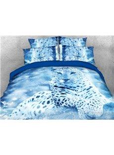 3D Winter Leopard Duvet Cover Set Soft Wrinkle-resistant 4-Piece Animal Bedding Sets