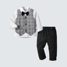 3 Stuecke Hemd mit Schleife & Weste & Hose Set