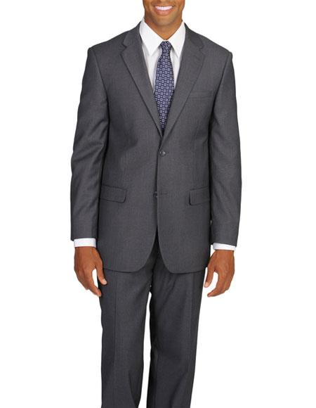Mens Single Breasted 2 Button Grey Notch Lapel Vested Double Vent Suit
