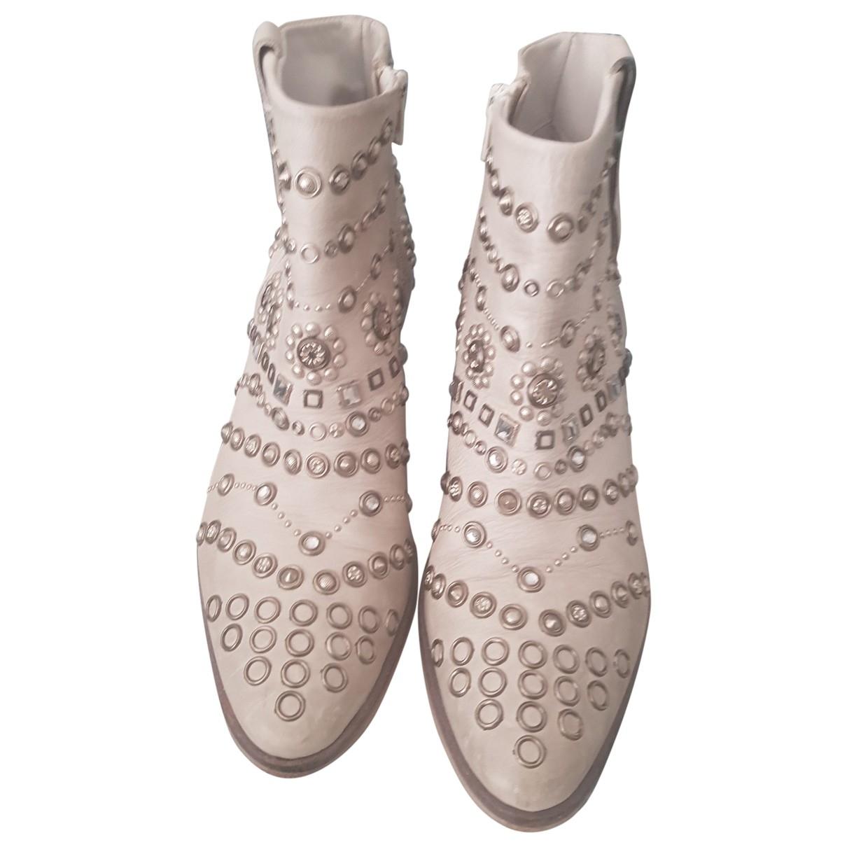 Garrice - Boots   pour femme en cuir - blanc