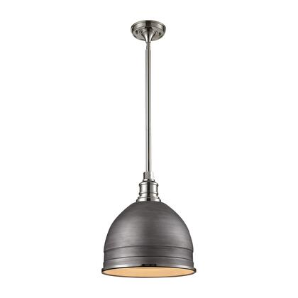 66882/1 Carolton 1 Light Pendant in Weathered zinc/Polished