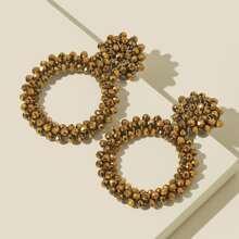 Beaded Round Charm Drop Earrings