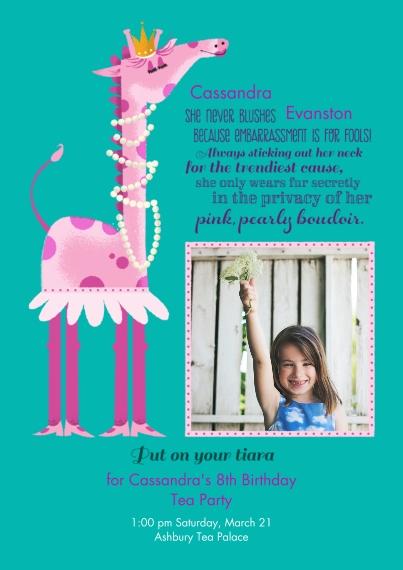 Kids Birthday Party Invites 5x7 Cards, Premium Cardstock 120lb with Elegant Corners, Card & Stationery -Animal Personality Birthday Giraffe