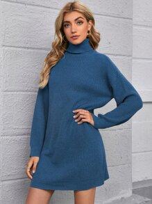 Drop Shoulder Turtleneck Sweater Dress Without Belt