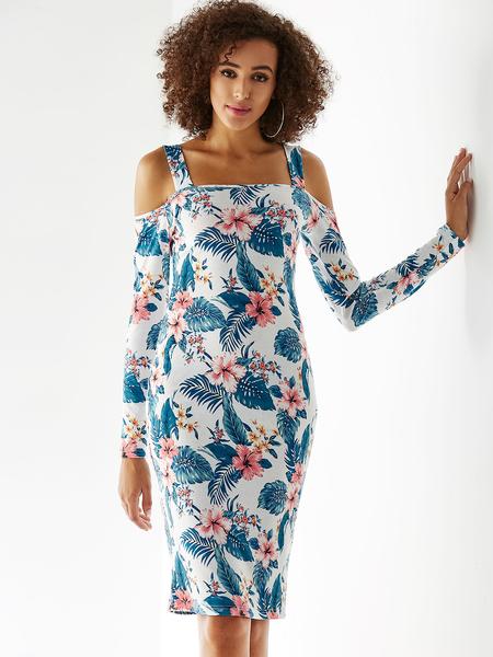 YOINS White Random Floral Print Cold Shoulder Backless Design Dress