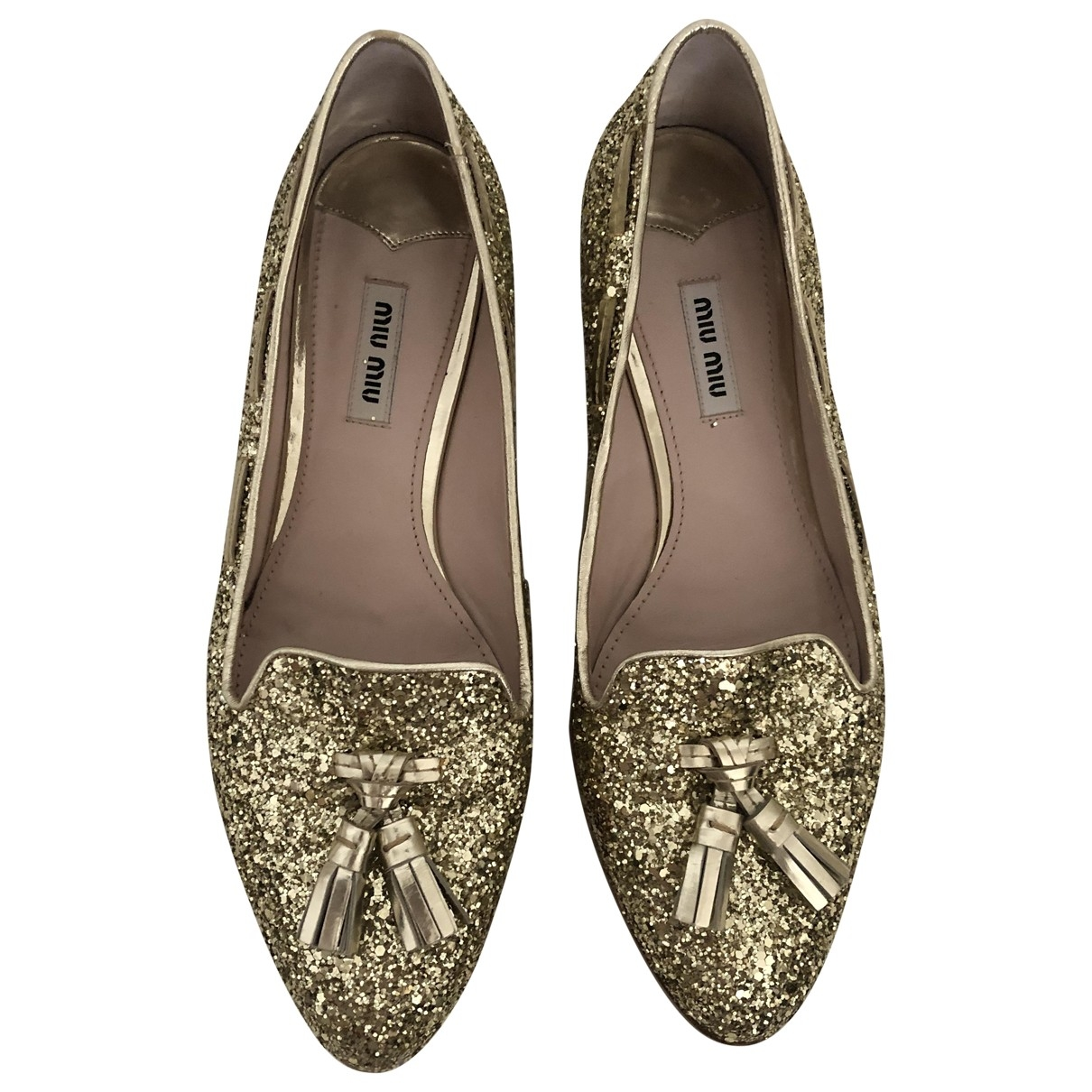 Miu Miu \N Gold Glitter Flats for Women 39 EU