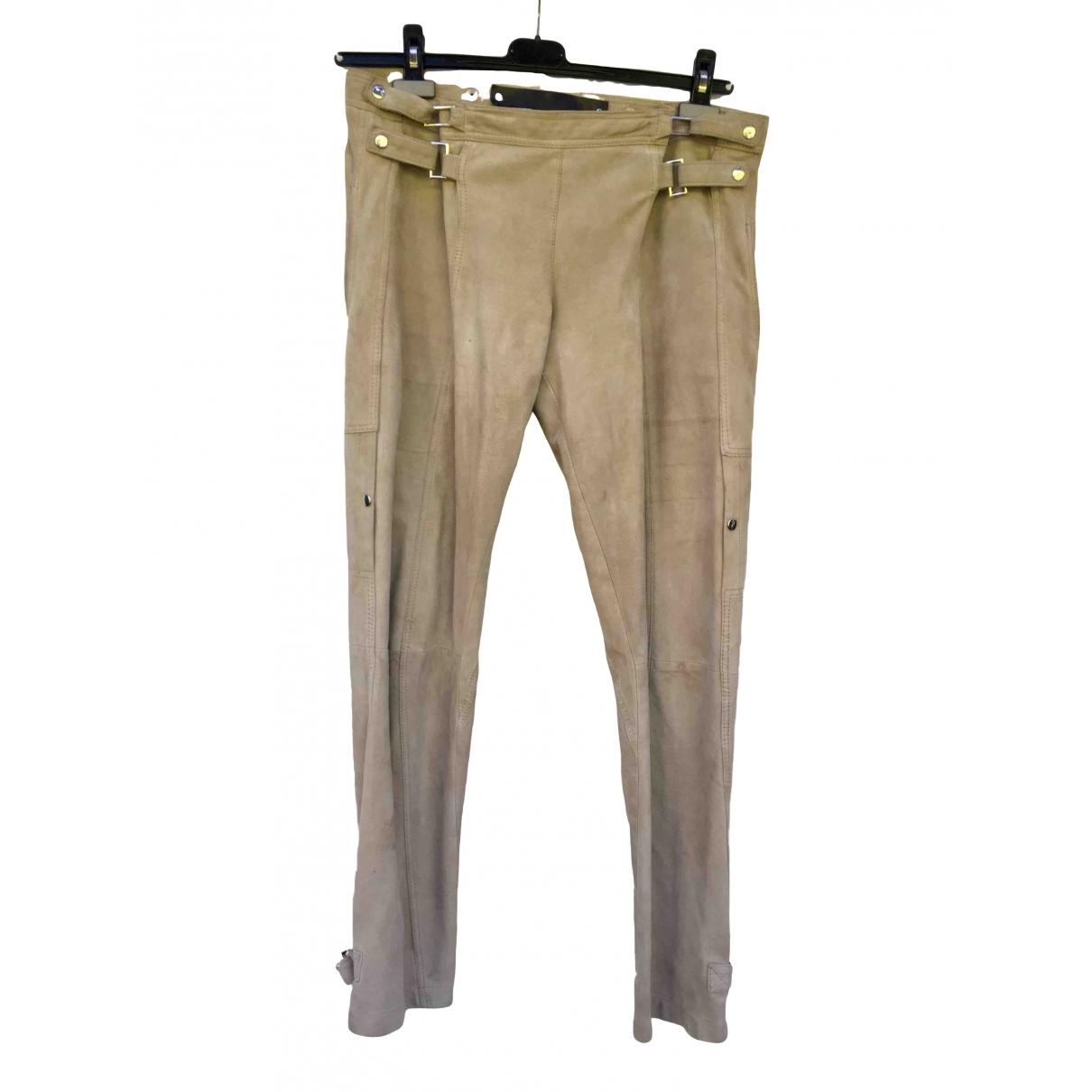 Barbara Bui \N Beige Leather Trousers for Women 40 FR