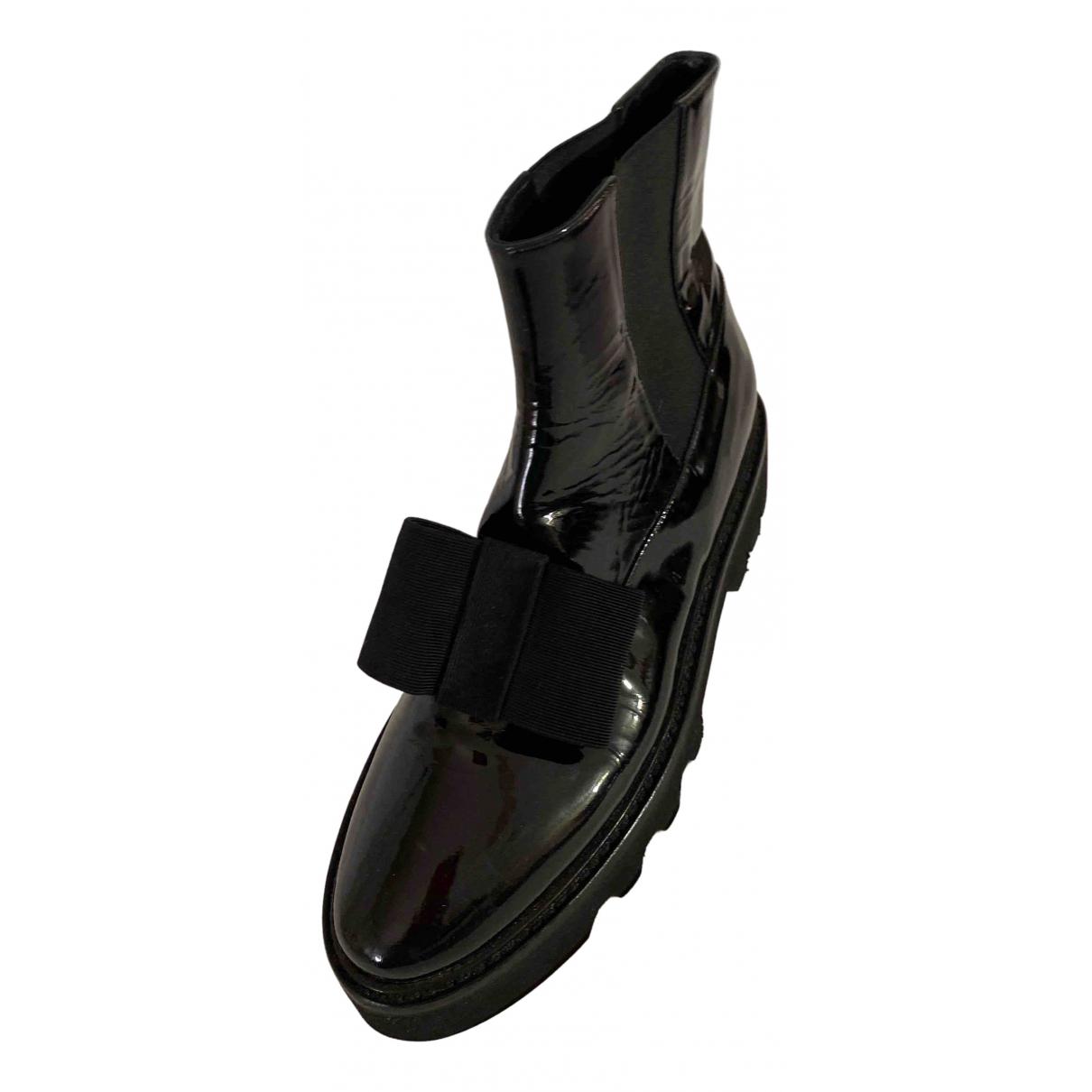 Steiger - Boots   pour femme en cuir verni - noir
