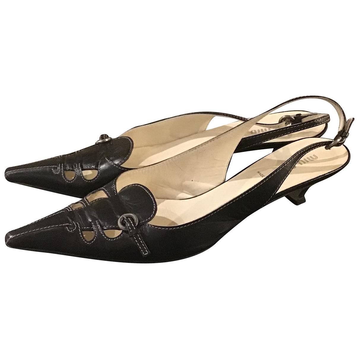 Miu Miu \N Black Leather Heels for Women 38.5 EU