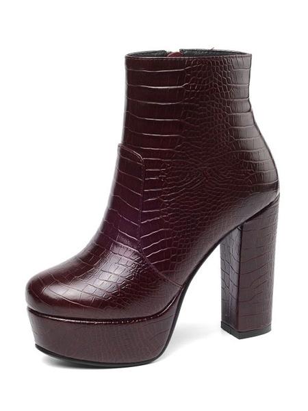 Milanoo Women Ankle Boots Crocodile Print Platform Chunky Heel 4.7 Booties